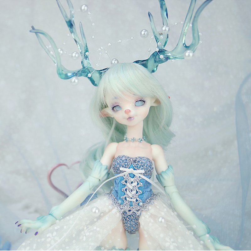 14mm acrylic bjd doll eyes metallic Ice blue full eyeball dollfie AE-63 ship US