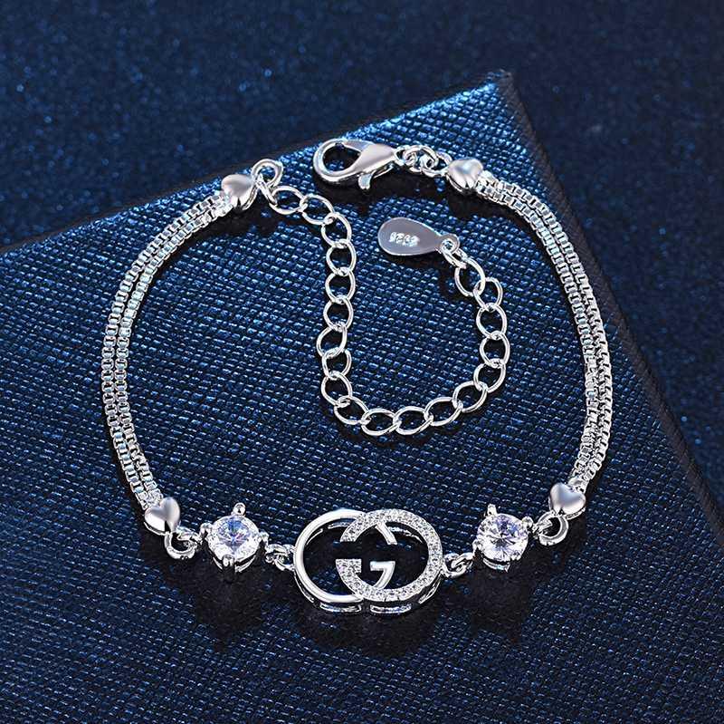 Lusso squisita doppia lettera G braccialetti le donne dichiarazione di marca di moda braccialetto di cristallo gioielli partito regalo di natale