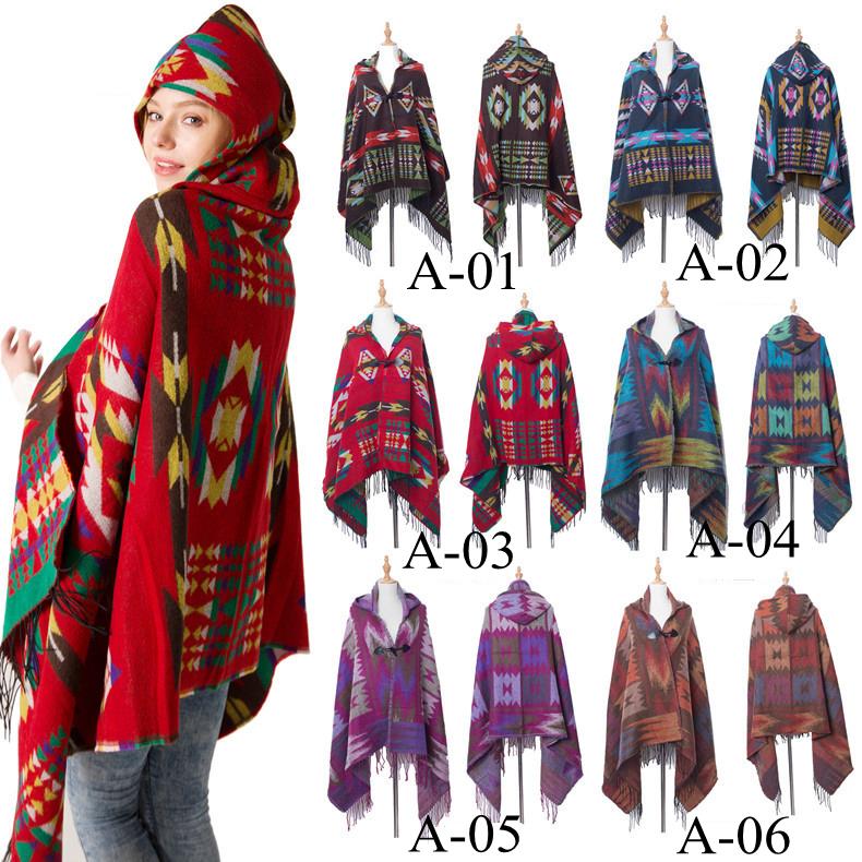 180*80CM Retro Bohemian Geometric Shawl Scarf Poncho Tribal Fringed Coat Hoodies Jacket striped Cardigans blankets Cape tassel shawl FFA993