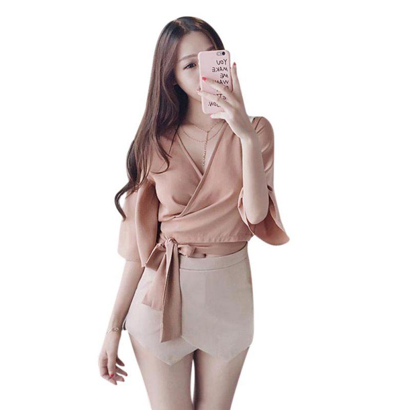New Style coréen Femmes De Mode En Mousseline De Soie Blouses Dames Tops Femme V cou Demi Manches Rose Jaune Chemise Blusas Femininas