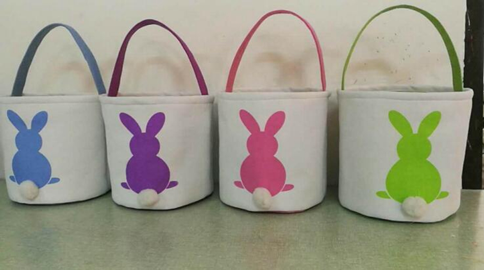 Easter Rabbit Basket Easter Bunny Bags Rabbit Printed Canvas Tote Bag Egg Candies Baskets OOA3960