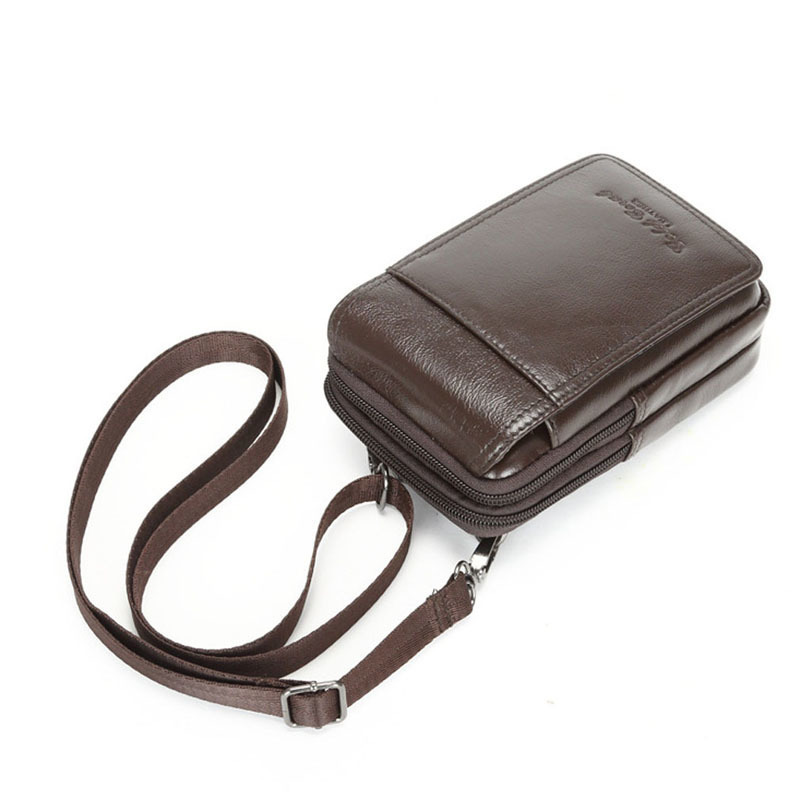 Brown Waist bag Men First Layer Cowhide Genuine Leather Crossbody Shoulder Bag New Belt Fanny Pack Purse Pouch Cell Phone Case