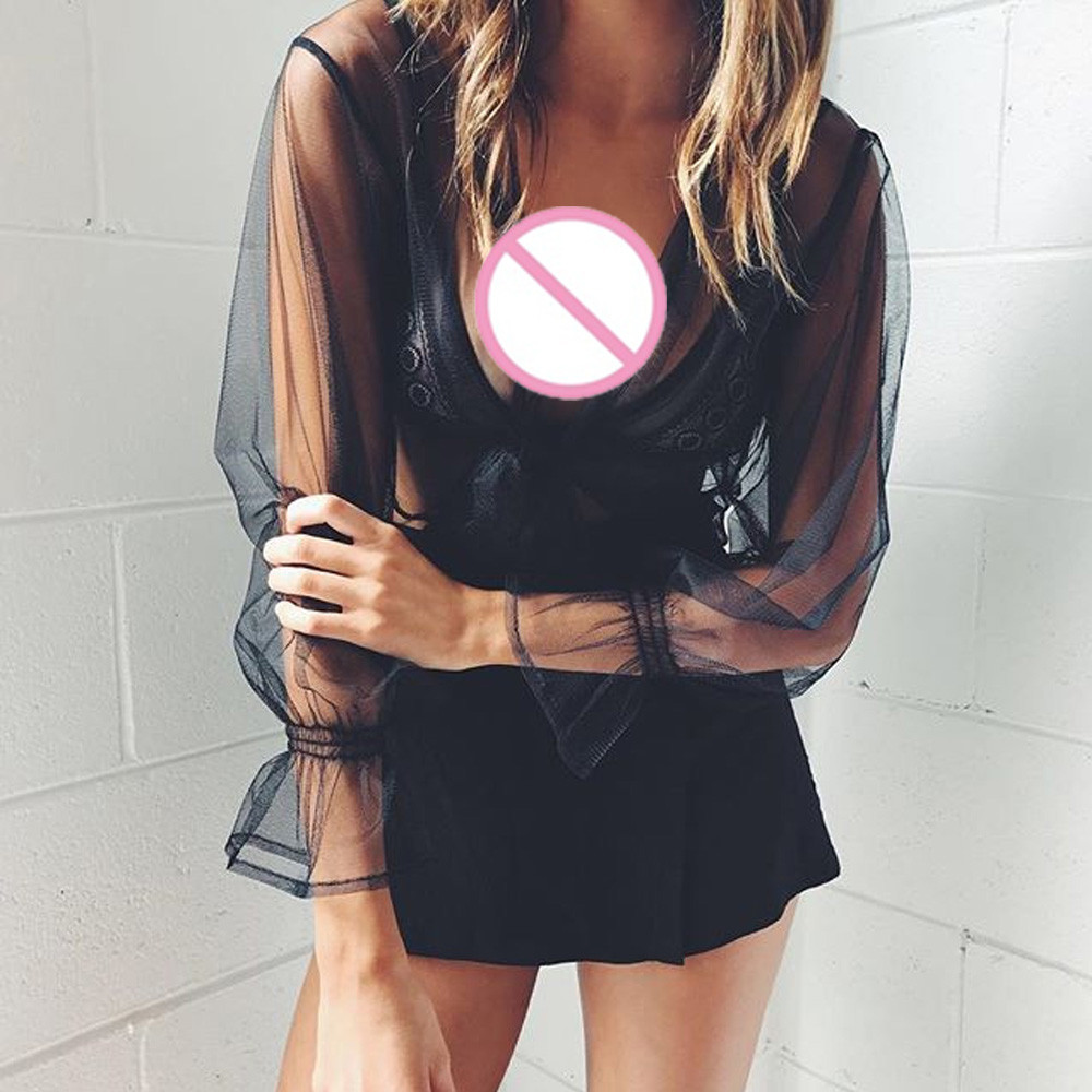 New Summer sexy Women T Shirt Long Sleeve Crop Perspective Hollow Out Lace black Tops Blusa manga comprida Poleras de mujer moda