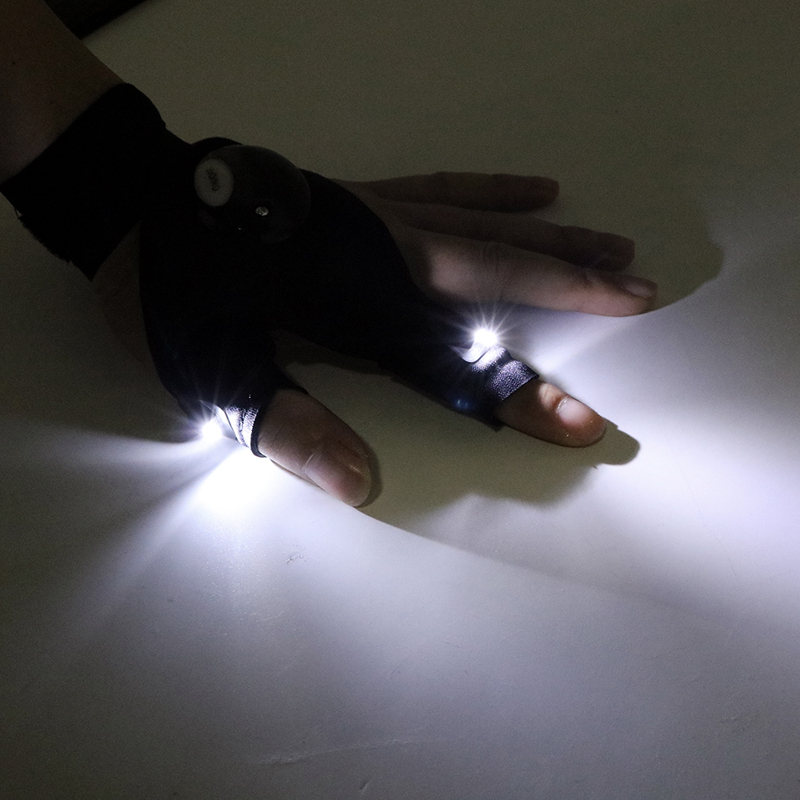 Notreparatur LED-Taschenlampe Fingerlose Handschuhe Luminous Handschuhe f/ür Camping Wandern
