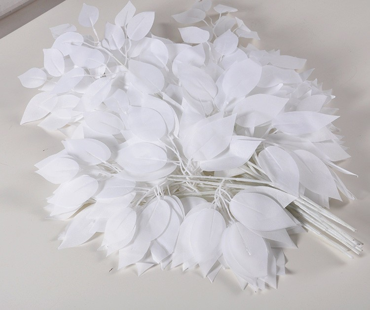 wedding decor white leaves