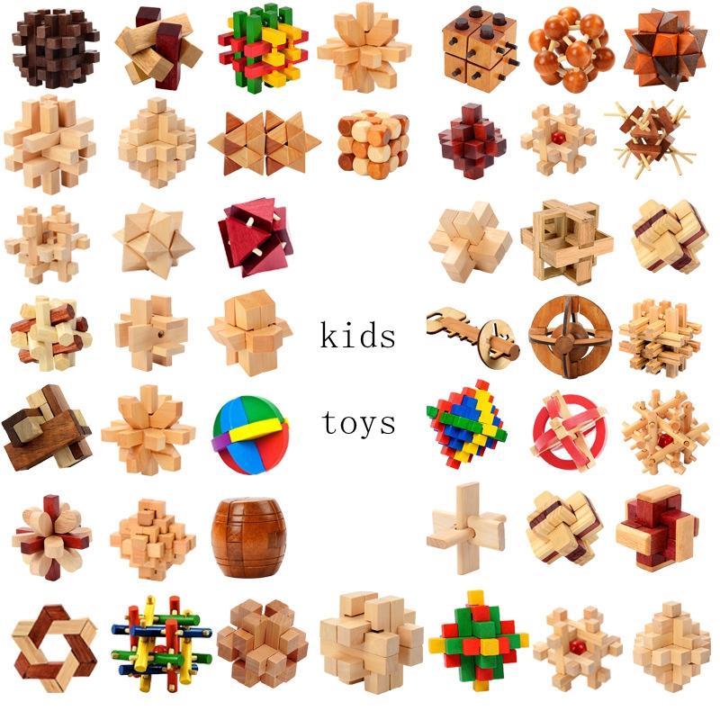 Holz IQ Rätsel Kong Ming luban Schloss 3D Interlocked Puzzle Puzzle Kinder Kinder Spielzeug Geschenk Intelligenz Spielzeug GGA1277