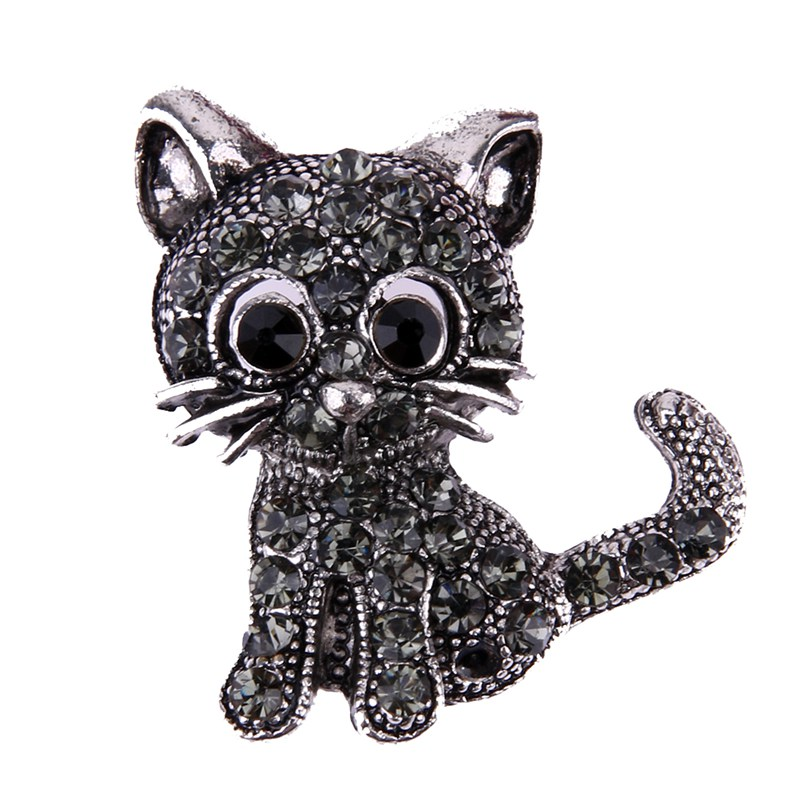 Vintage Black Crystal Cute Cat Brooch Pins 28*31*3mm Women Brooch Fashion Kitty Pin Up Brooch Accessories Jewelry Gift wholesale