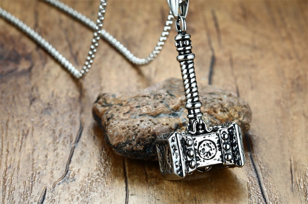 Mens Solid Viking Thors Hammer Pendant Necklace Stainless Steel Vintage Mjolnir Norse Jewelry collares collier colar kolye collane choker 19