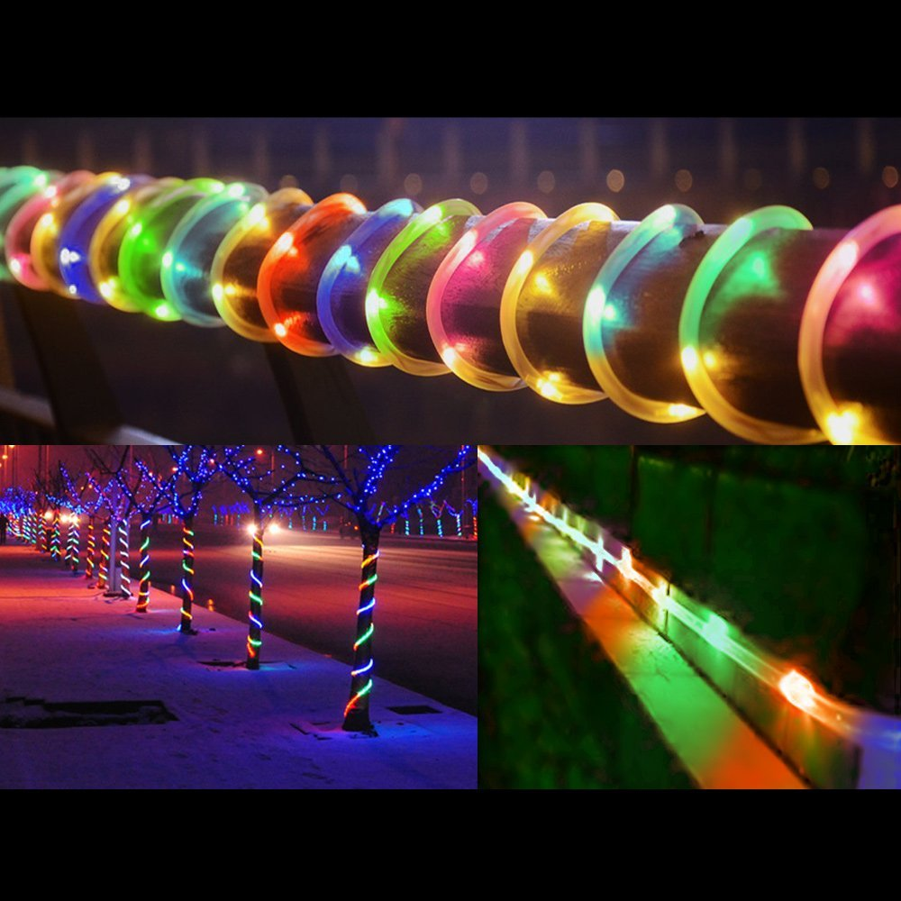 LED Solar Rope Tube Led String Strip Fairy Lights Outdoor Garden Christmas Xmas Party Decor Waterproof lamp Decoration Wholesale Dropship