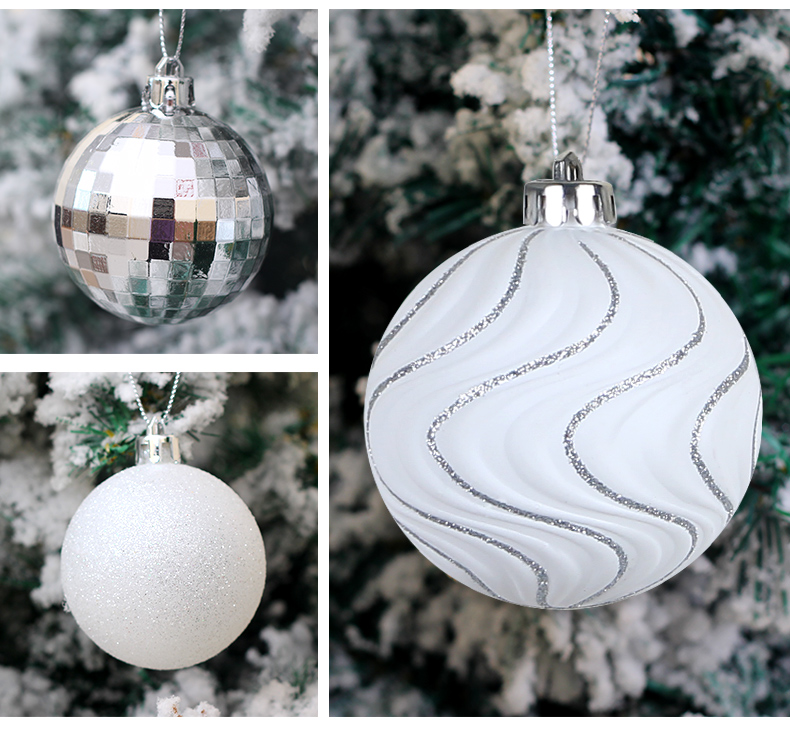 06 inhoo 50pcs Silver White Balls Christmas Decorations for home Christmas Tree Decor Craft Ball Ornaments Pendant Xmas Gifts 2019