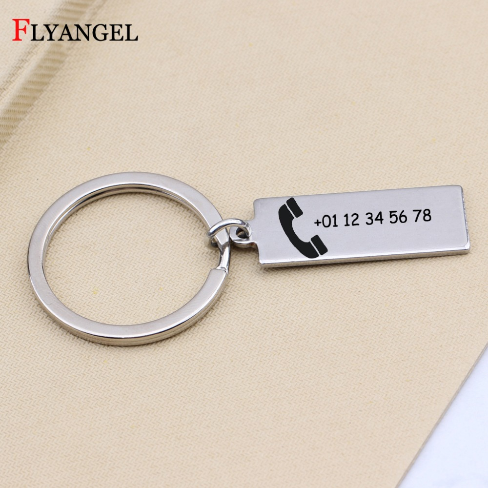 2 Pcs Anti-Lost phone number keychain Genuine Leather with Tel Number Inside