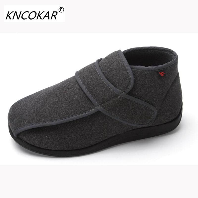 Hot nouvelle haute aide les chaussures chaudes des hommes avec des chaussures larges pieds larges et pieds gonflés réglable date blind aveugle