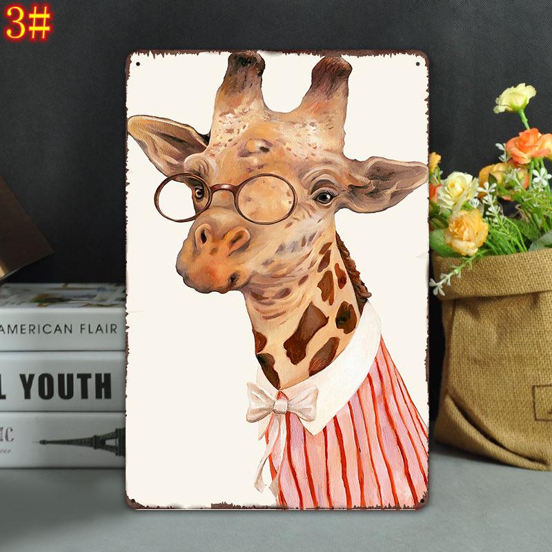 20 * 30 cm Tiere Vintage Retro Blechschild Poster eule katze Giraffe Poster Plaque Club Wand Home kunst metall Malerei Wand-dekor FFA975 100 STÜCKE