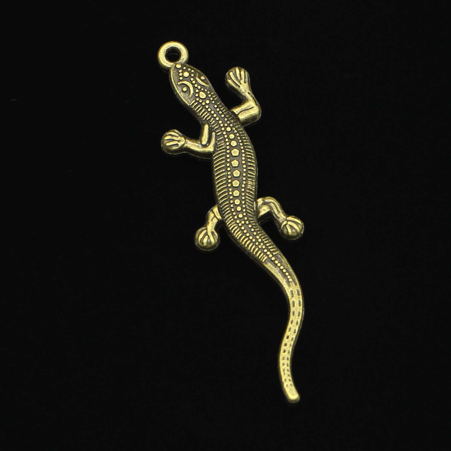3 Large Lizard Pendants Antiqued Silver Bronze Gold Reptile Findings Assorted