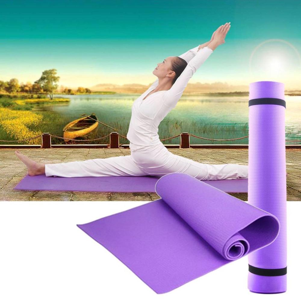 duradera antideslizante Esterilla de yoga de 6 mm de grosor para camping azul ejercicio de goma EVA para fitness gimnasio