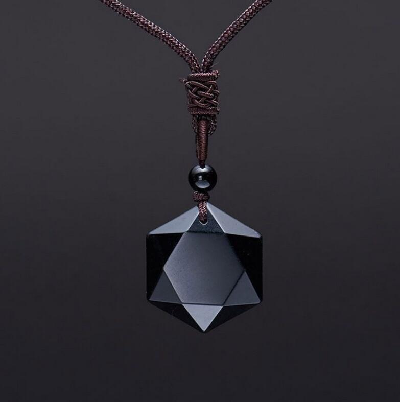 100/% nautural Fashion Obsidienne Energy Sculpture Quatre POISSONS Pendentif