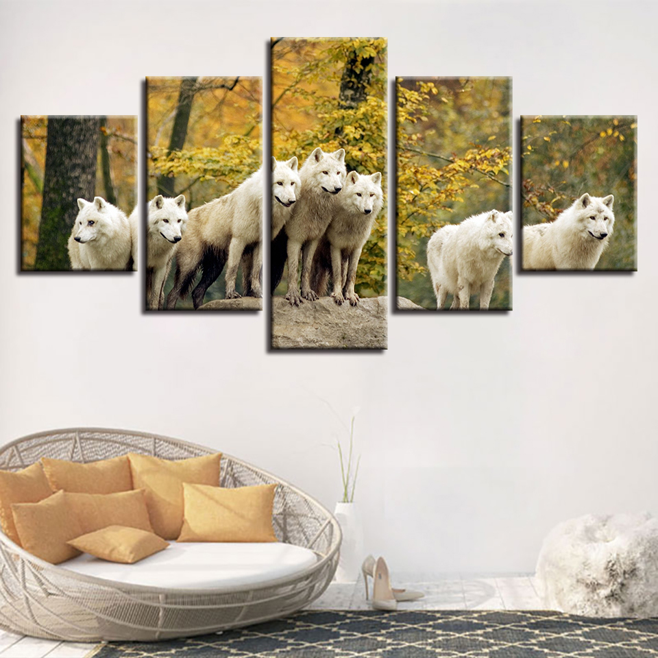Modular Canvas Pictures Decor Home Room Animal White Wolf Group Scenery Painting Wall Art HD Prints Modern Poster Frame