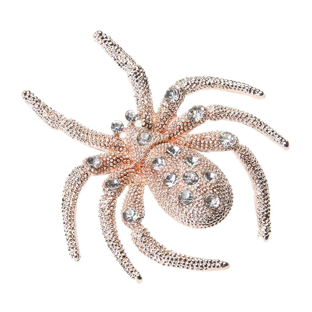 New Women Spider Brooch enamel pins scarf Dress Accessories Diamante Spilla Clear Crystal Special Brooch Exquisite Corsage