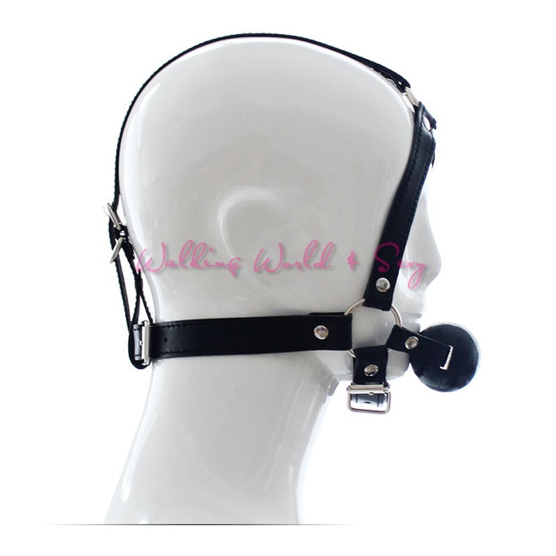 Leather Head Harness Bondage Restraints Mask Open Mouth Gag Silicon Ball Toys Sex Games Adult Fetish Product For Women Men (10)