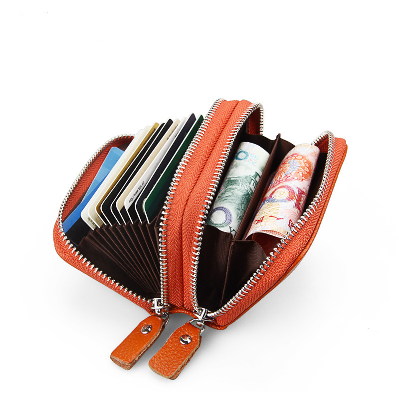 UK Womens Soft Leather  Wallet Credit Card Holder Zipper Case Purse RFID Block