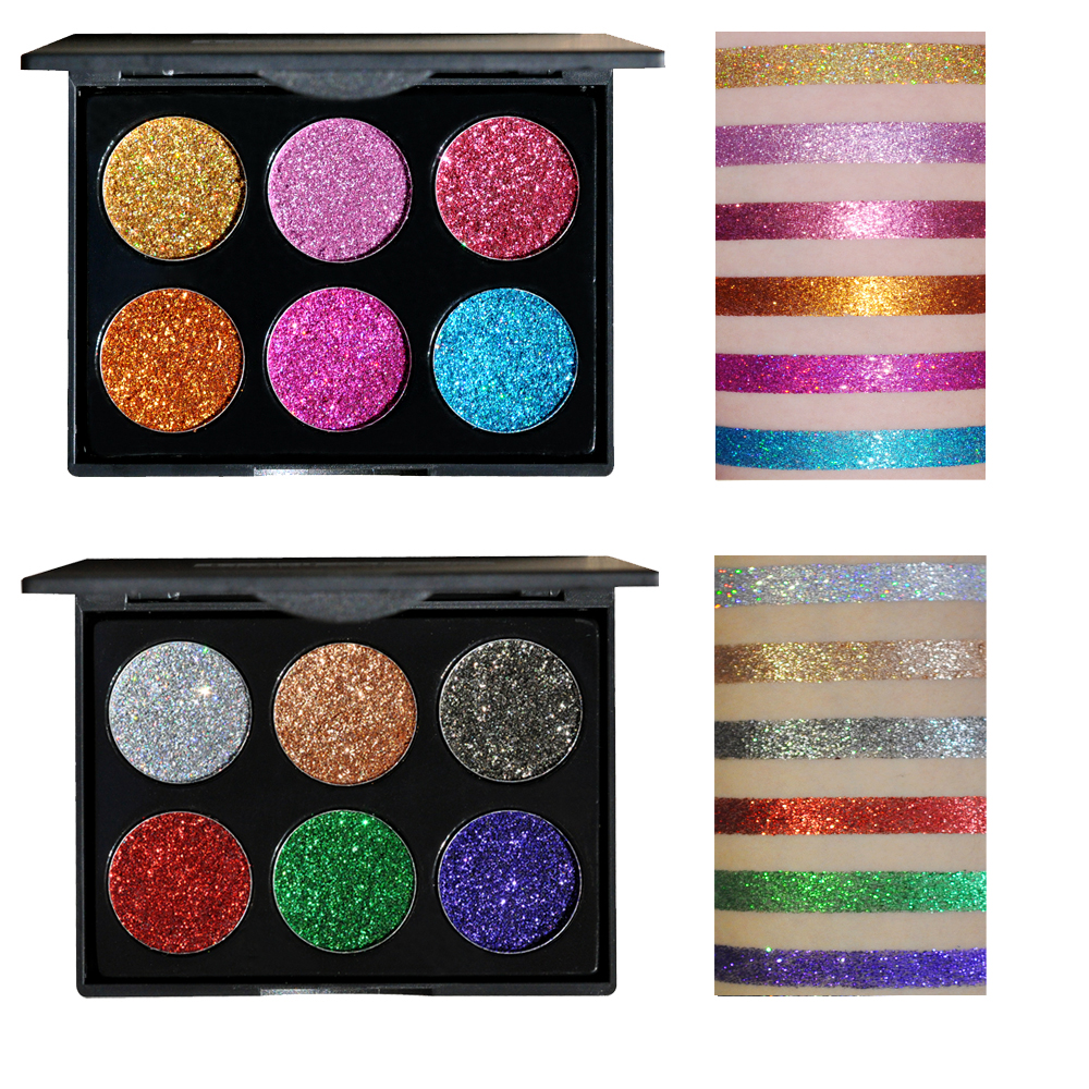 HANDAIYAN Makeup Waterproof Glitter Eyeshadow Palette Shining Metals Powder Shimmer Eye Shadow Pigments Kits Diamond Make Up