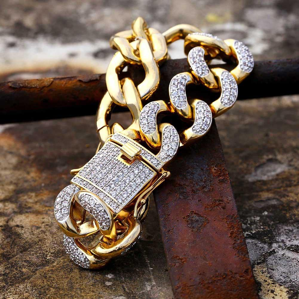 18k genuine gold electroplating micro-inset zircon studded with diamond jewelry in Miami Cuba chain 18mm men`s gold bracelet.