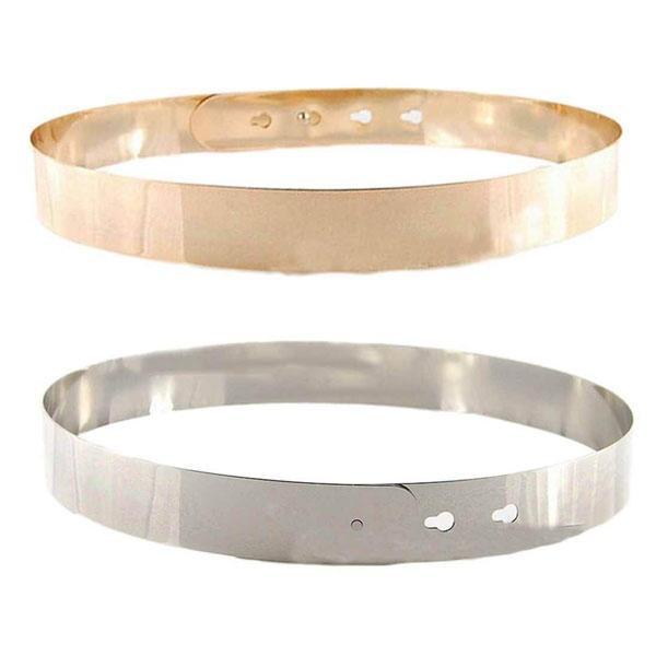 Women High Waist Metal Mirror Belt Metallic Gold Plate Shiny Chain Wide Obi Band