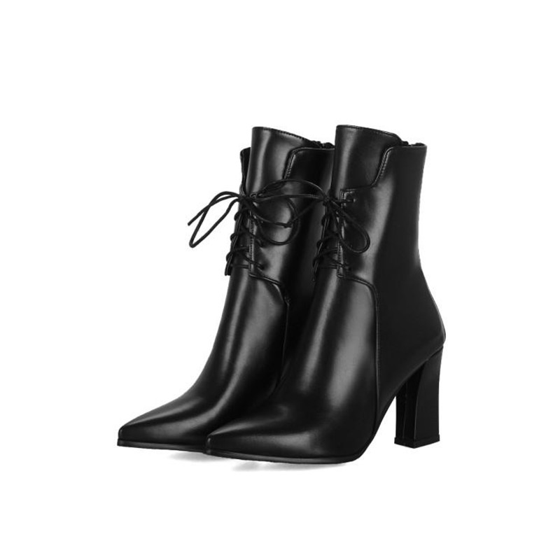 Brand Designers 2018 New Winter Women Shoes Black High Heels Riding Boots Lacing Platform Ankle Boots Chunky Heel Big Size 32-43 (18)