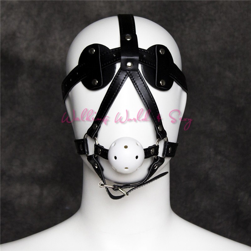 Adult Sex Mask With Blindfold Leather Harness Gag Bondage Mouth Ball Gag Fetish Slave Gag Sex Toys For Couples Flirting Cosplay (5)