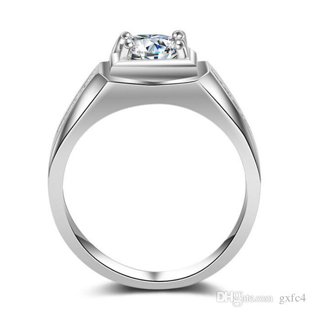 2017 New Victoria Wieck Solitaire Men ring 1ct Topaz simulated diamond 925 Sterling Silver Engagement Wedding Band Ring