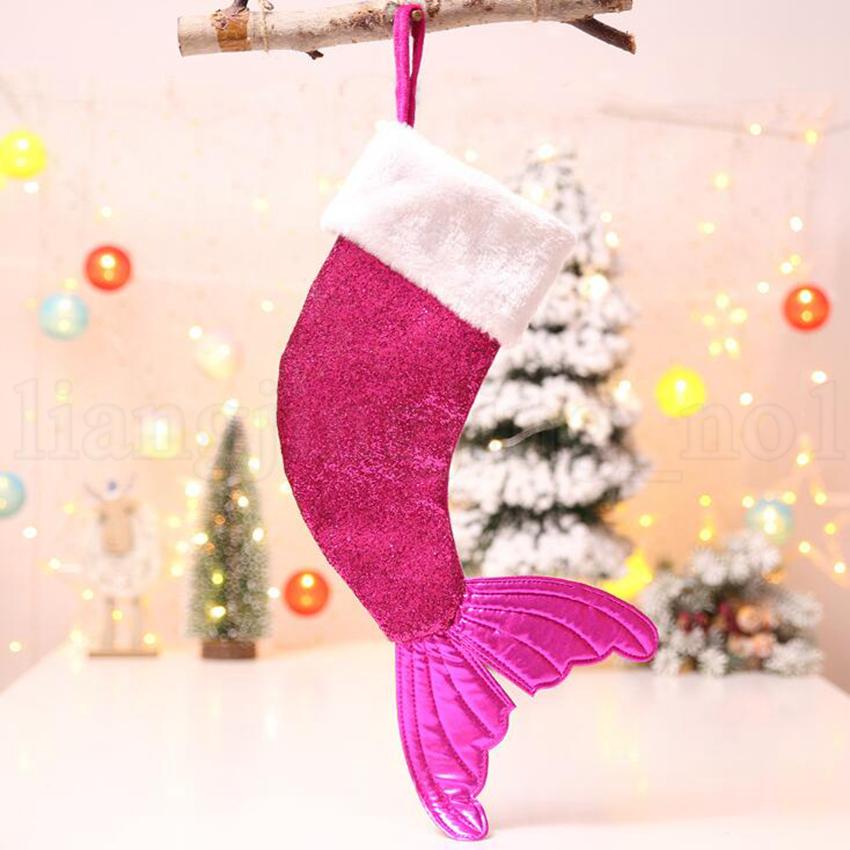 Christmas Mermaid Stocking Gift Wrap Bags Sequins Bling Bling Bead Flip Tail Socks Mermaid Tail Sock Christmas Decorations Toys OOA5815