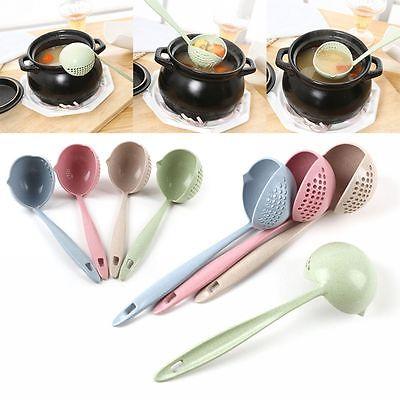 es 2 en 1 de sopa de mango largo cuchara vajilla cocina utensilios de cocina herramienta colador cocina colador cucharón de plástico cuchara gga943