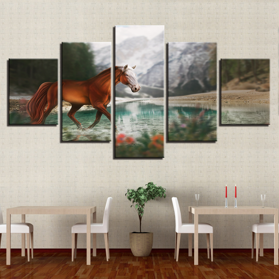 Wall Art Canvas Pictures Frame Horse Painting For Living Room HD Printed Snow Mountain River Natural Poster Home Decor