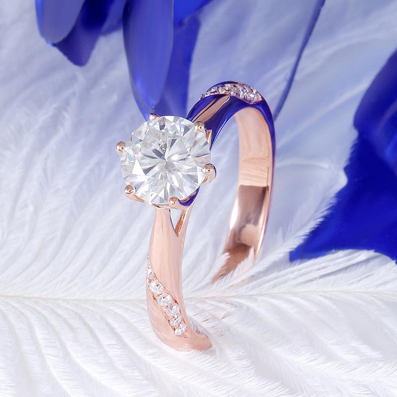 rose gold moissanite emgagement ring (2)