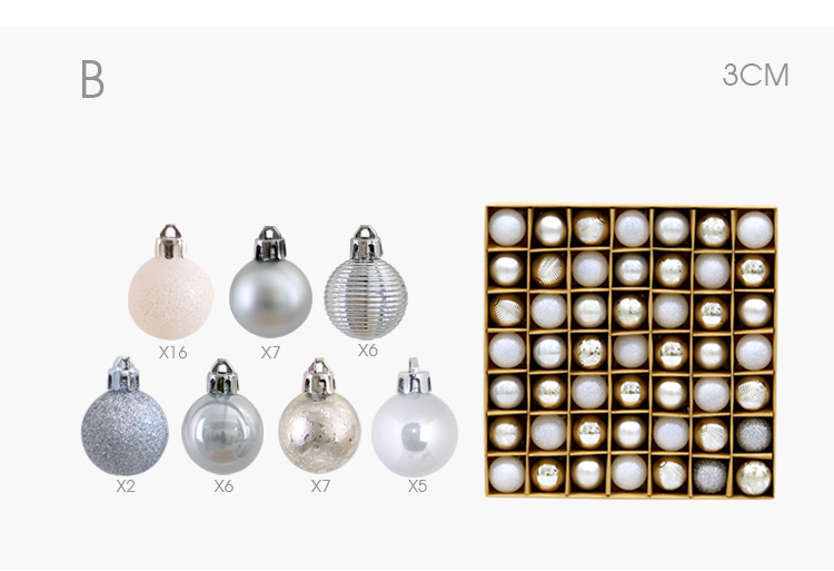 05 inhoo 49pcs Christmas Tree Ornaments Polystyrene Plastic 3cm Decor Balls Baubles Xmas Party Hanging Ball for Home Gifts 2019