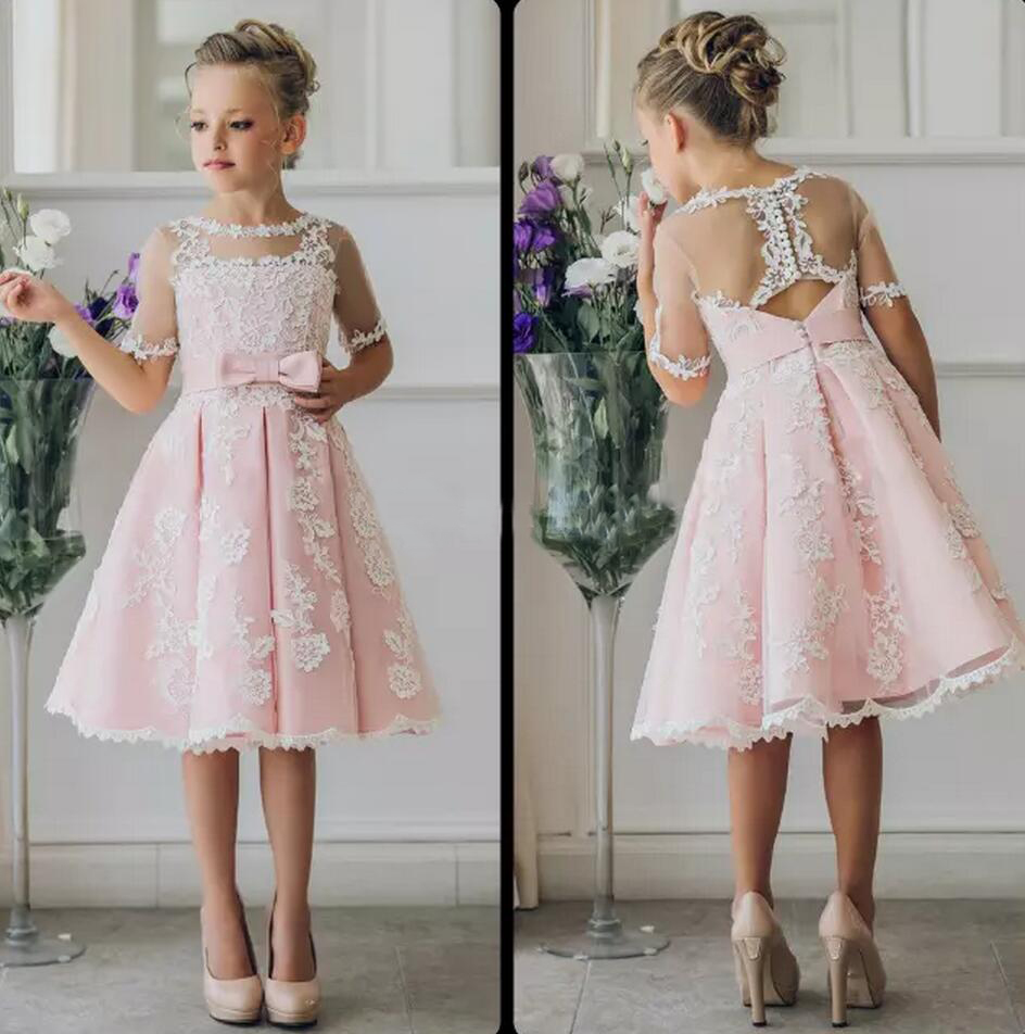 Extravagante rosa Blumen-Mädchen-Kleid mit Applikationen Halbarm knielangen  A-Linie Kleid mit Band Bögen für Weihnachten Festzug Kleider 3-3 Jahre
