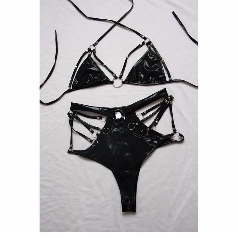 Sexy-Leather-Erotic-PVC-Vinyl-Lingerie-Club-Wear-For-Women-Costume-Fetish-Bandage-Harness-Bondage-Set