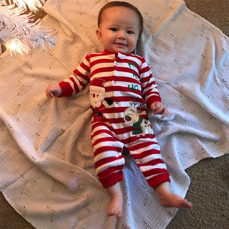 Christmas Embroidery Reindeer Stripe Romper For Boys Girls 2018 Casual Toddler Baby Boy Girl Long Sleeve Romper Red Jumpsuit+Hat Y18102907