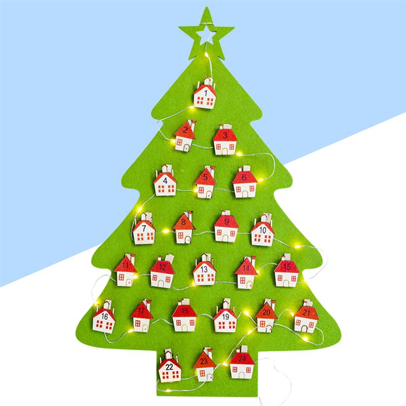 Creative Exquisite Christmas Tree Advent Calendar Felt Holiday Countdown Lamp-Display Calendar Kit Kids Gifts Christmas Decor