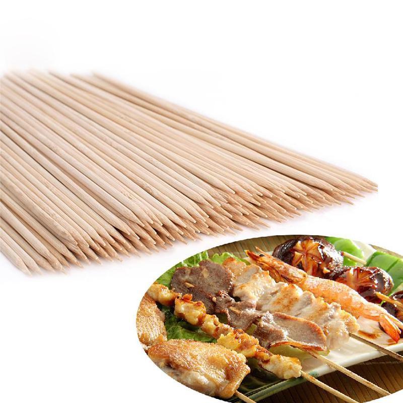 100 x spiedini di bambù in legno BBQ Kebab Fruit Fontana di cioccolato fonduta Stick 25cm