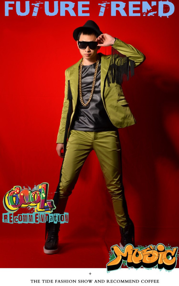 Green Tassels Suit Nightclub Male Suit Bar Show For Singer Dancer Costumes Nightclub DJDS Blazer Coat Performance Outfit Costumes