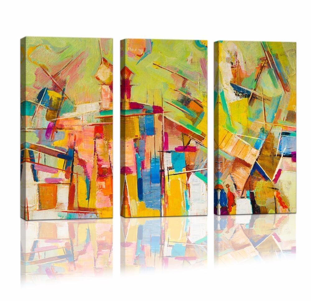 Compre 3 Paneles Enmarcado Cartel Abstracto Arte De La Pared Pintura ...