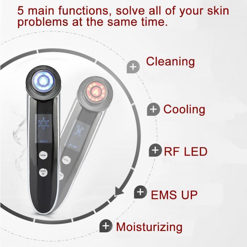 5 in 1 LED RF EMS Kırışıklık Kaldırma Makinesi Yüz Cilt Kaldırma Sıkın Masaj Yüz Derin Temizleyici Anti-akne Fototerapi Cihazı