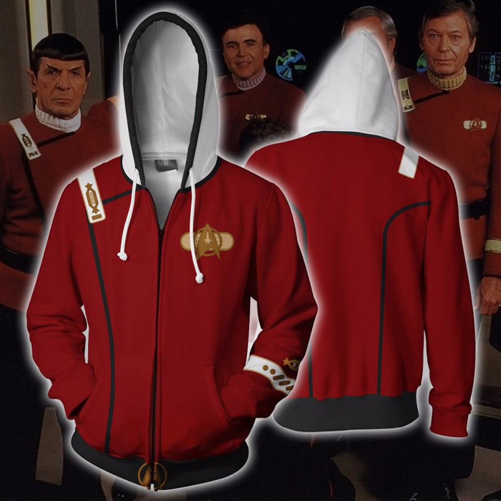2020 Star Trek Voyager Commander Captain Zipper Hoodie Sweatshirt Costume Jacket