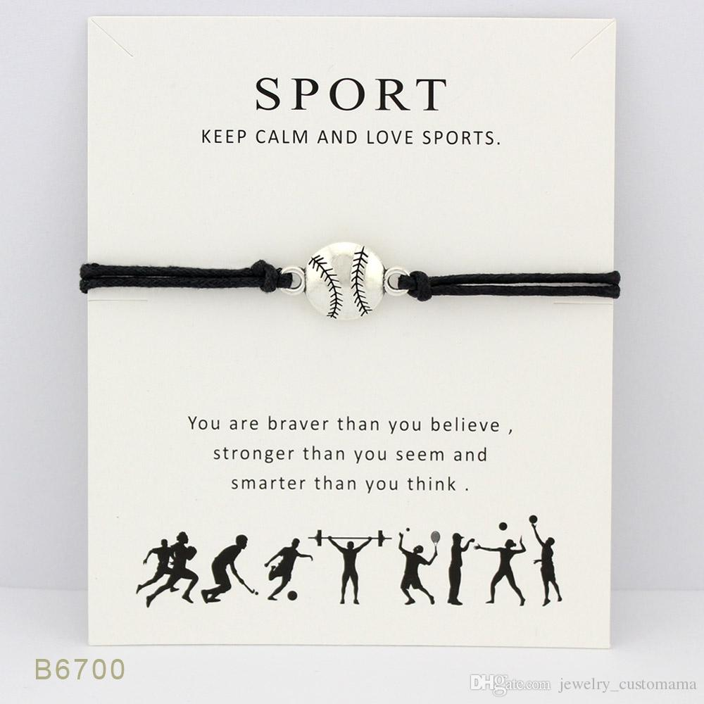 Silver Tone Baseball Charm Sports Bracelets & Bangles For Women Girls Adjustable Friendship Statement Jewelry With Card