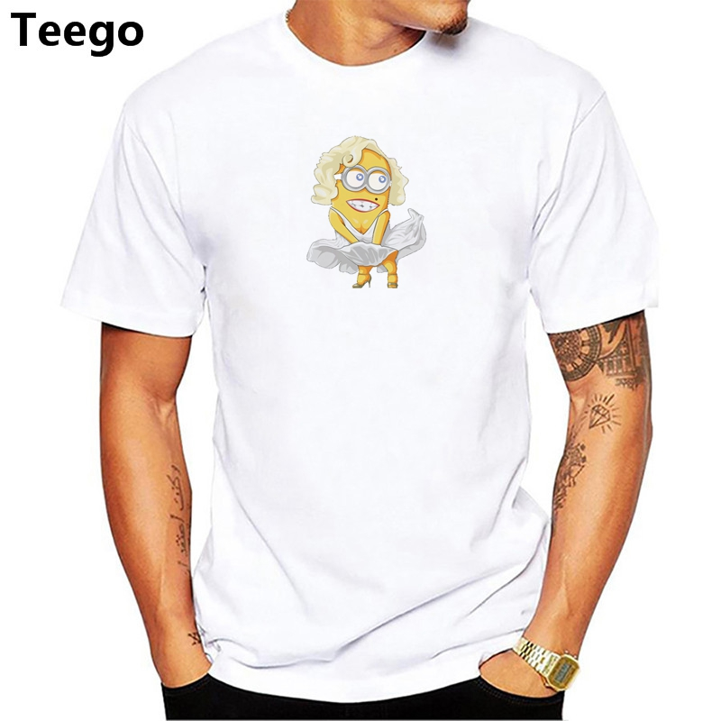 Asian Size Maryline Minion printed men funny t-shirts fashion hipster minion men t shirt short sleeve Casual minions tops