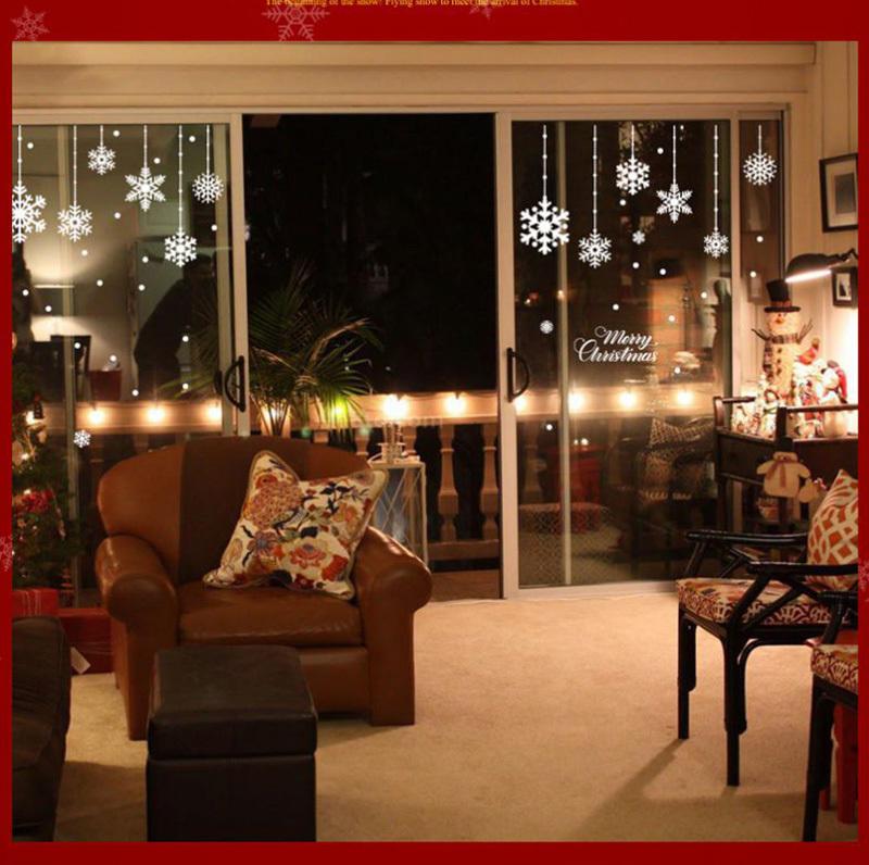 Happy New Year Christmas Decorations for Home Snowflake Glass Sticker Merry Christmas Decor Shop Window Sticker Navidad Natal (8)