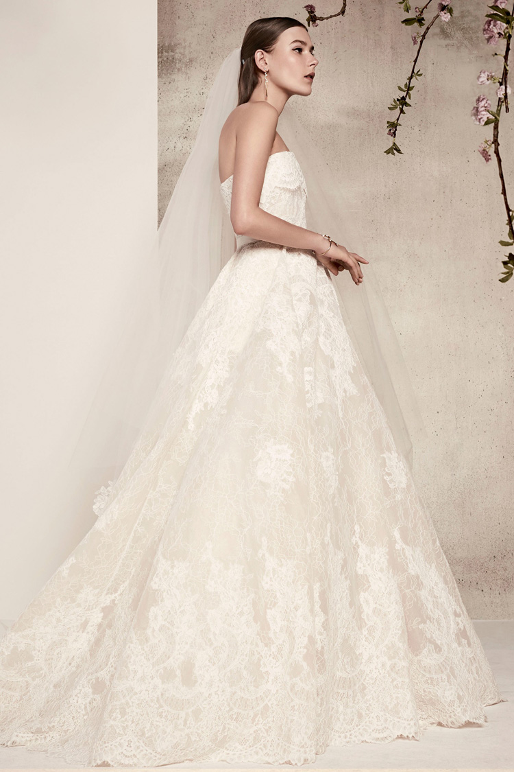Strapless Ball Gown Lace Wedding Dresses 2018 Elie Saab Bridal Gowns ...
