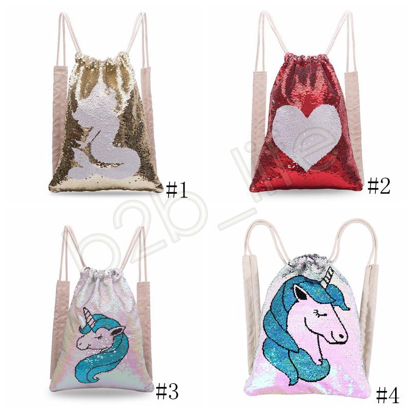 Einhorn Pailletten Drawstring Taschen Pailletten Make-up Tasche Reisetasche Kleidung Speicher Schuhe Taschen Mädchen Frauen Baumwolle Meerjungfrau Rucksack GGA1270