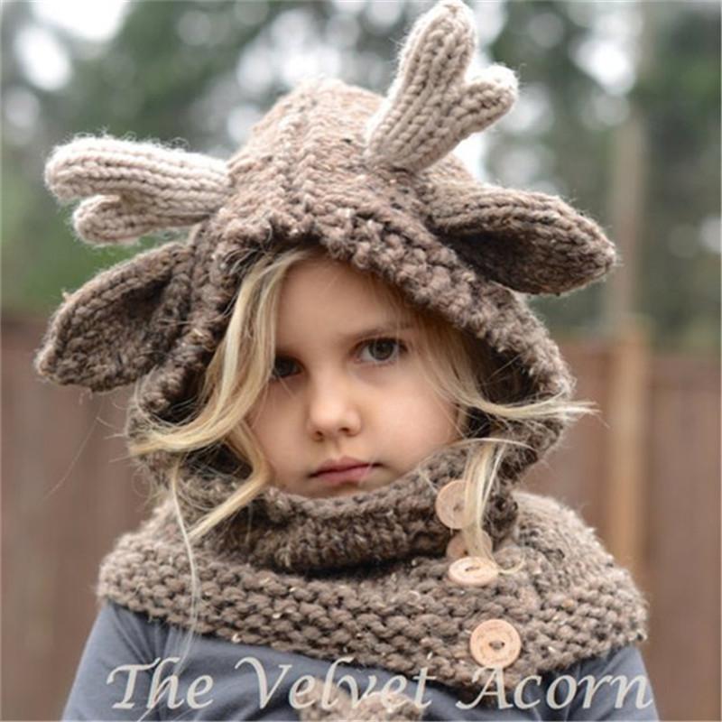 Cappello invernale in lana bambini Cappello alce in lana con cappuccio Sciarpe Guanti 3 in di cervi natalizi Cappellini caldi maglieria regalo Elk Crocket Beanie ragazzi